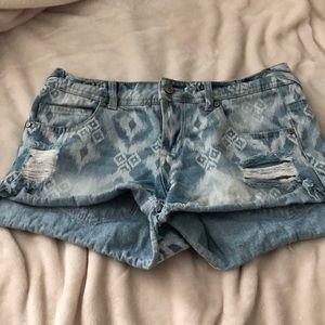 Denim shorts with Aztec detail